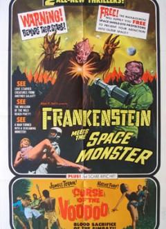 """Une affiche d'époque, où le film est proposé en double-programme avec le croquignolet """"Curse of the Voodoo""""."""
