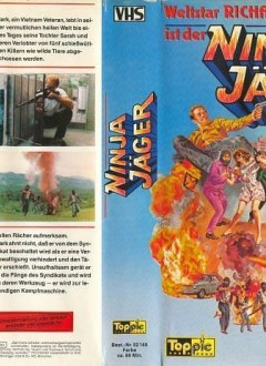 """La VHS allemande, qui proclame fièrement : """"La star mondiale Richard Harrison est le chasseur Ninja"""" !"""
